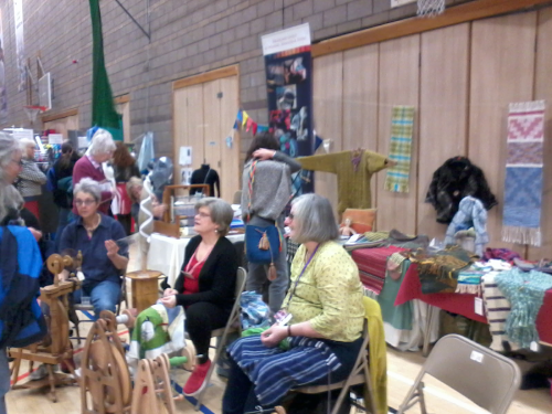 Our stand and spinners at Loch Ness Knitfest 2018